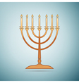 Gold Hanukkah menorah icon on blue background vector image vector image