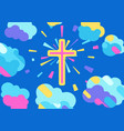 happy easter with cross vector image vector image