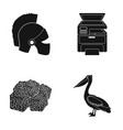 helmet printer and other web icon in black style vector image vector image