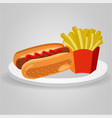 hotdog food meal potato fries fast food junk vector image