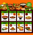 indian cuisine menu with national dishes vector image vector image