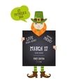 Irish man holding black board happy St Patricks vector image