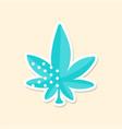 marijuana leaf cute sticker in bright colors vector image vector image