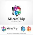 micro chip logo template design vector image