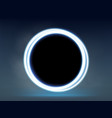 neon round blue glowing frame on a dark background vector image vector image