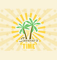 palm trees sticker with rays summer time vector image