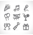 party festive icons set vector image
