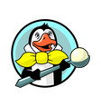 penguin in yellow bow tie with ice cream vector image