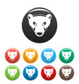 polar bear head icons set color vector image vector image