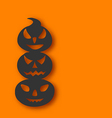 Pumpkins with an evil expression on faces vector image vector image