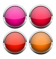 red glass buttons shiny round 3d web icons vector image vector image
