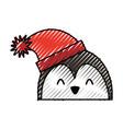 scribble christmas penguin face cartoon vector image