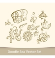 Sea doodle set isolated on white background vector image vector image