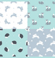 set forest animals seamless patterns vector image