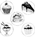 set of hand drawn desserts vector image vector image