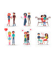 set of smiling couples in love on white background vector image vector image