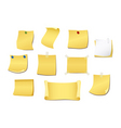 set of yellow note vector image vector image