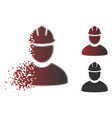 shredded pixel halftone worker icon vector image vector image