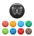 spring butterfly icons set color vector image