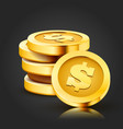 stack golden dollar coins isolated on dark vector image vector image