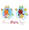 The signs of the zodiac Guinea pig Pisces vector image
