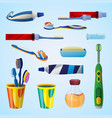 tooth cleaning tool concept background cartoon vector image vector image