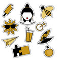 trendy fashionable pins patches badges stickers vector image