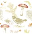 Vintage Birds Forest Pattern Background vector image vector image