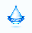 water drop with blue ribbon vector image vector image