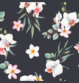 watercolor orchid white flowers pattern vector image vector image