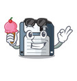 with ice cream floppy disk isolated with a mascot vector image vector image