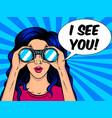 woman looks through binocular pop art vector image vector image