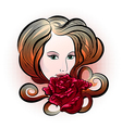 Woman with rose vector image vector image