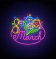 women day neon sign 8 march logo neon vector image