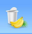 yogurt package box and banana realistic vector image vector image