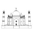 Taj Mahal outlines in very high detail 3d vector image