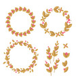 set of decorative wreaths of flowers and leaves vector image