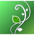 Abstract paper pattern with green leaves vector image