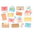 cartoon envelopes flat envelope pen or pencil vector image
