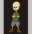 cool human skull using casual costume vector image
