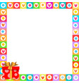 cute border made of doodle hearts with red gift vector image