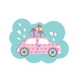 cute volkswagen beetle style car with gift vector image vector image