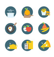 Different food icons collection Flat icons set vector image vector image