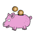 digitally drawn piggy bank design hand drawing vector image