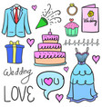 doodle of wedding party object vector image vector image