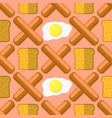 eggs grill sausages and bread seamless pattern vector image vector image