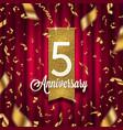 five years anniversary golden signboard vector image vector image