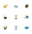 flat icons swimming sea tortoise and other vector image vector image