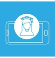 girl graduated mobile device education vector image vector image