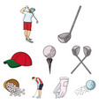 golf club set icons in cartoon style big vector image vector image